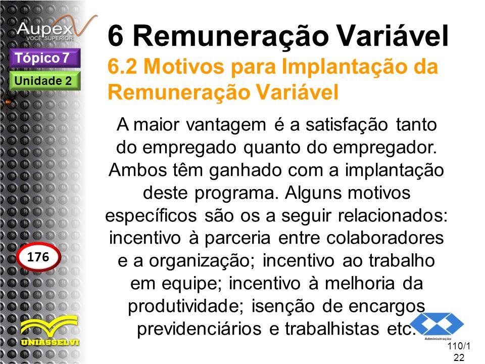 6 Remuneração Variável 6.2 Motivos para Implantação da Remuneração Variável A maior vantagem é a satisfação tanto do empregado quanto do empregador. A