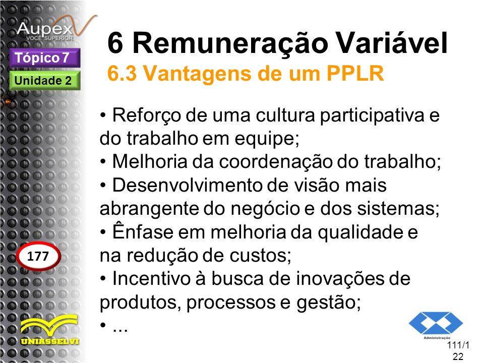 6 Remuneração Variável 6.3 Vantagens de um PPLR Reforço de uma cultura participativa e do trabalho em equipe; Melhoria da coordenação do trabalho; Des