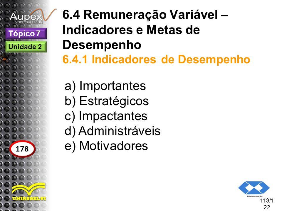 6.4 Remuneração Variável – Indicadores e Metas de Desempenho 6.4.1 Indicadores de Desempenho a) Importantes b) Estratégicos c) Impactantes d) Administ