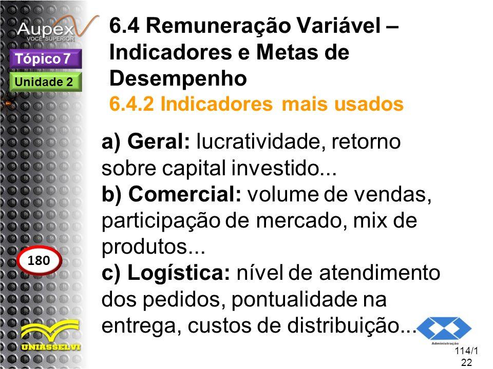 6.4 Remuneração Variável – Indicadores e Metas de Desempenho 6.4.2 Indicadores mais usados a) Geral: lucratividade, retorno sobre capital investido...