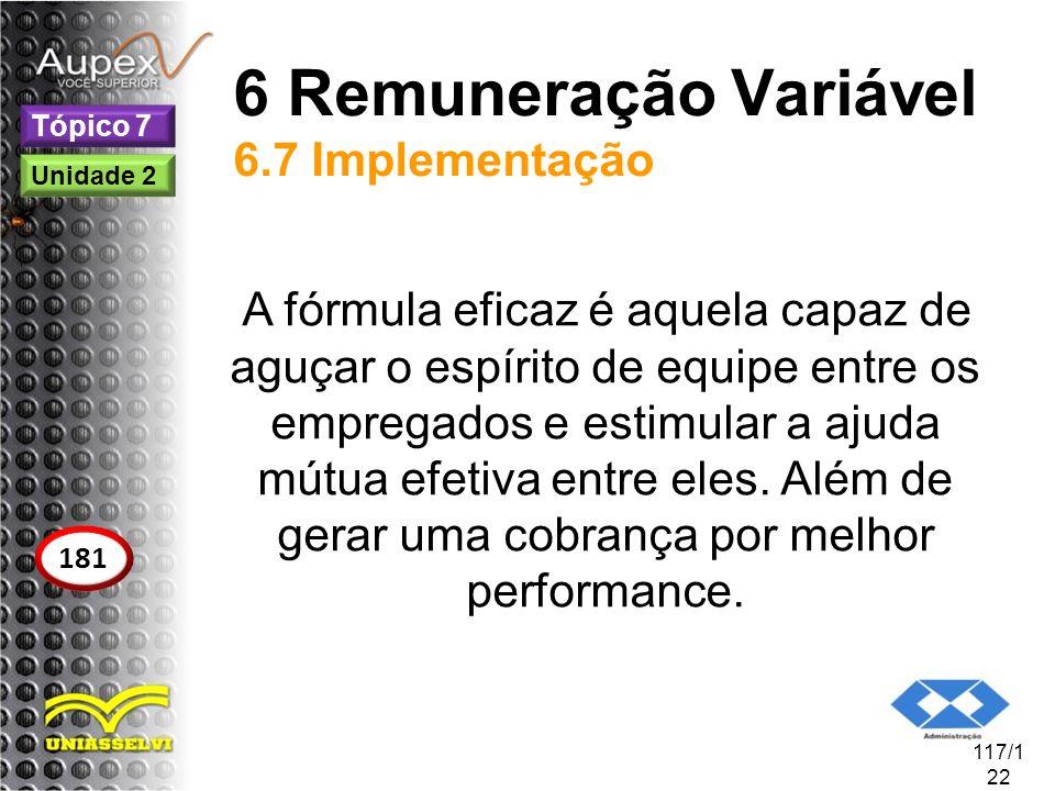 6 Remuneração Variável 6.7 Implementação A fórmula eficaz é aquela capaz de aguçar o espírito de equipe entre os empregados e estimular a ajuda mútua