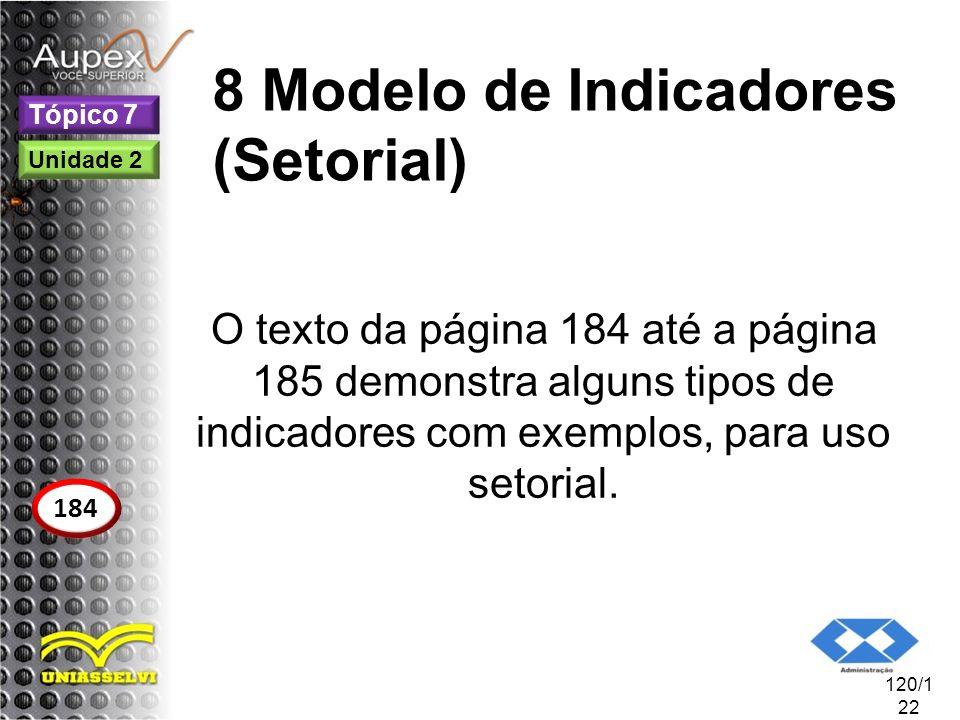 8 Modelo de Indicadores (Setorial) O texto da página 184 até a página 185 demonstra alguns tipos de indicadores com exemplos, para uso setorial. 120/1