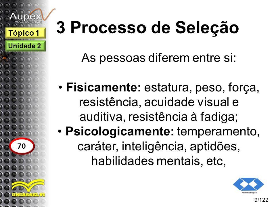 3 Processo de Seleção As pessoas diferem entre si: Fisicamente: estatura, peso, força, resistência, acuidade visual e auditiva, resistência à fadiga;