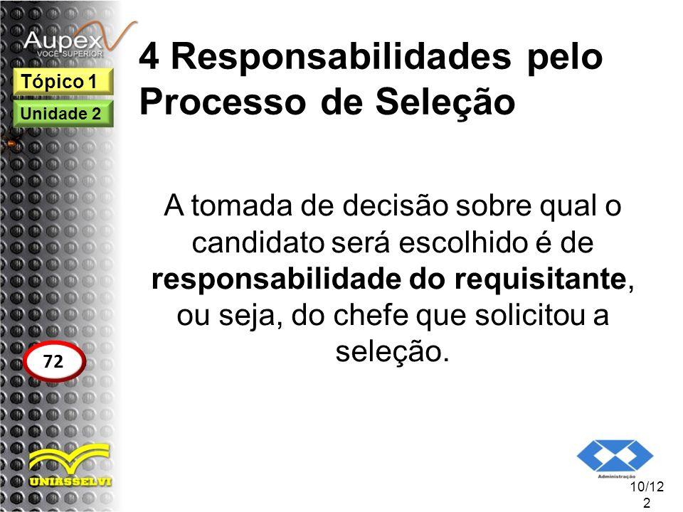 4 Responsabilidades pelo Processo de Seleção A tomada de decisão sobre qual o candidato será escolhido é de responsabilidade do requisitante, ou seja,
