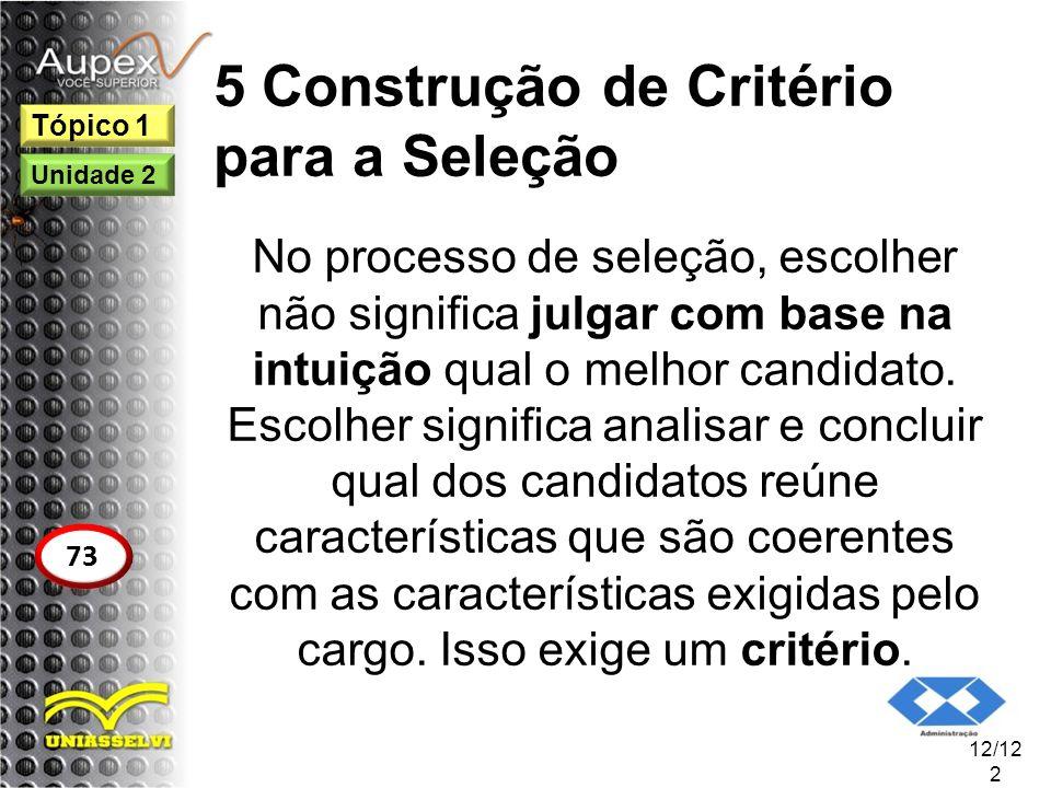 5 Construção de Critério para a Seleção No processo de seleção, escolher não significa julgar com base na intuição qual o melhor candidato. Escolher s