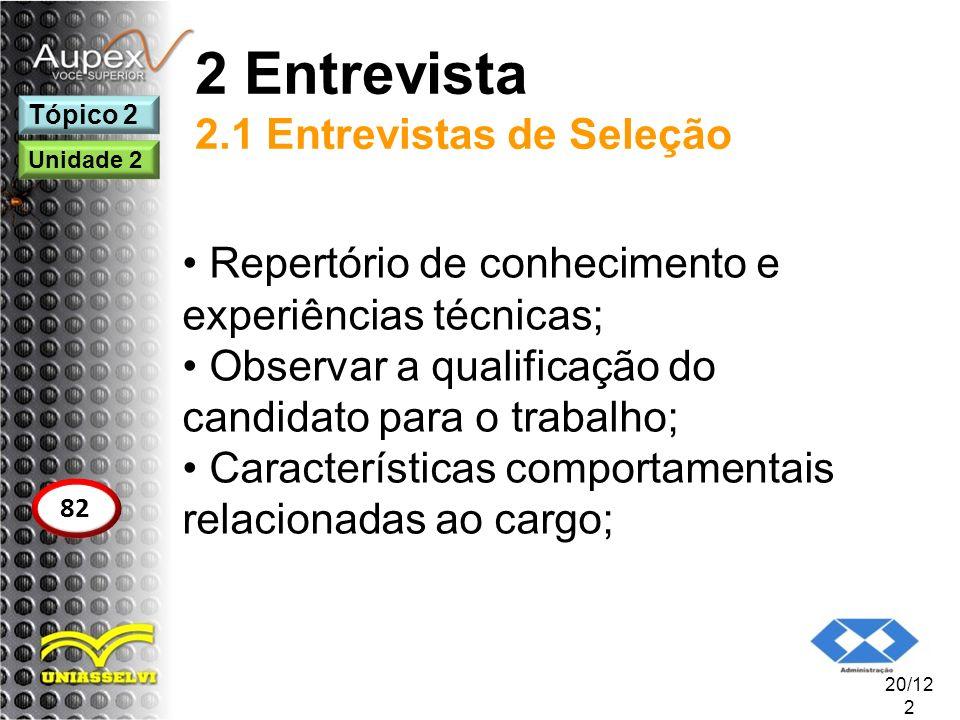 2 Entrevista 2.1 Entrevistas de Seleção Repertório de conhecimento e experiências técnicas; Observar a qualificação do candidato para o trabalho; Cara