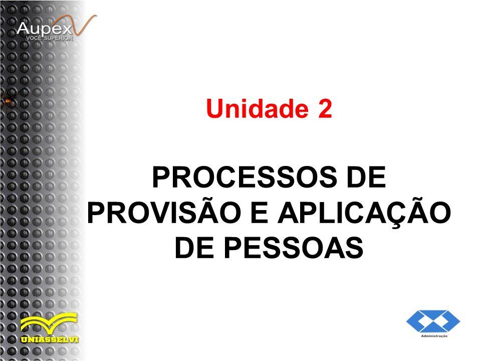 Unidade 2 PROCESSOS DE PROVISÃO E APLICAÇÃO DE PESSOAS