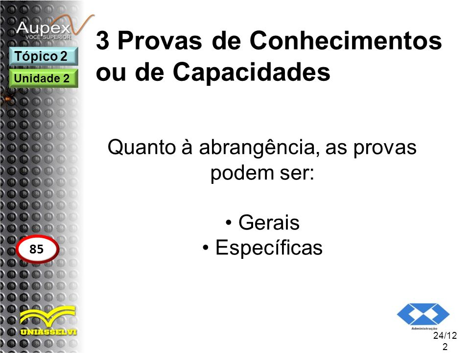 3 Provas de Conhecimentos ou de Capacidades Quanto à abrangência, as provas podem ser: Gerais Específicas 24/12 2 Tópico 2 85 Unidade 2