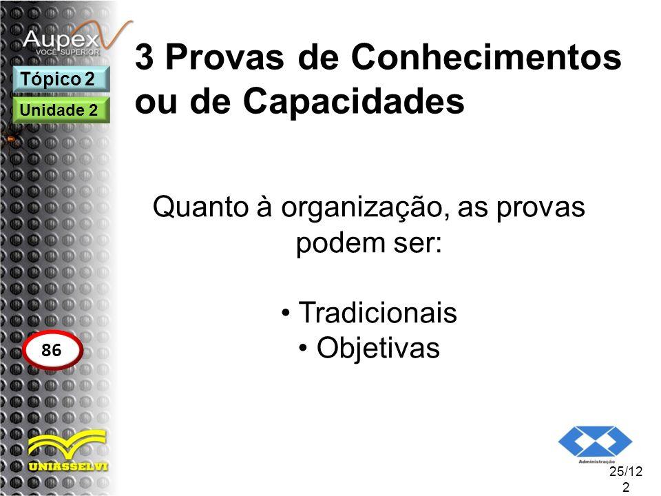 3 Provas de Conhecimentos ou de Capacidades Quanto à organização, as provas podem ser: Tradicionais Objetivas 25/12 2 Tópico 2 86 Unidade 2