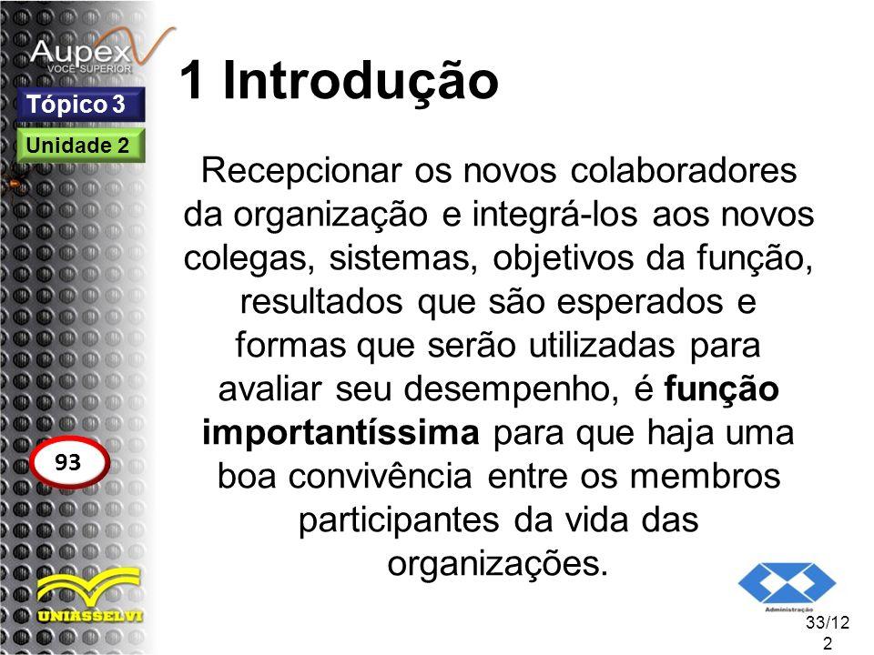 1 Introdução Recepcionar os novos colaboradores da organização e integrá-los aos novos colegas, sistemas, objetivos da função, resultados que são espe
