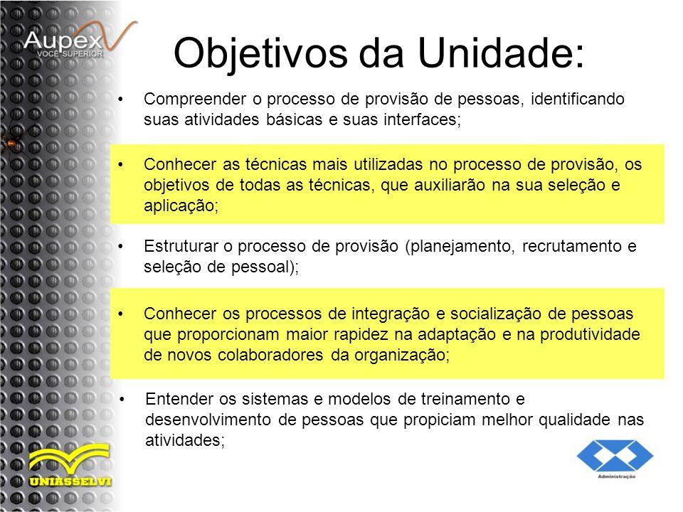 Objetivos da Unidade: Compreender o processo de provisão de pessoas, identificando suas atividades básicas e suas interfaces; Conhecer as técnicas mai