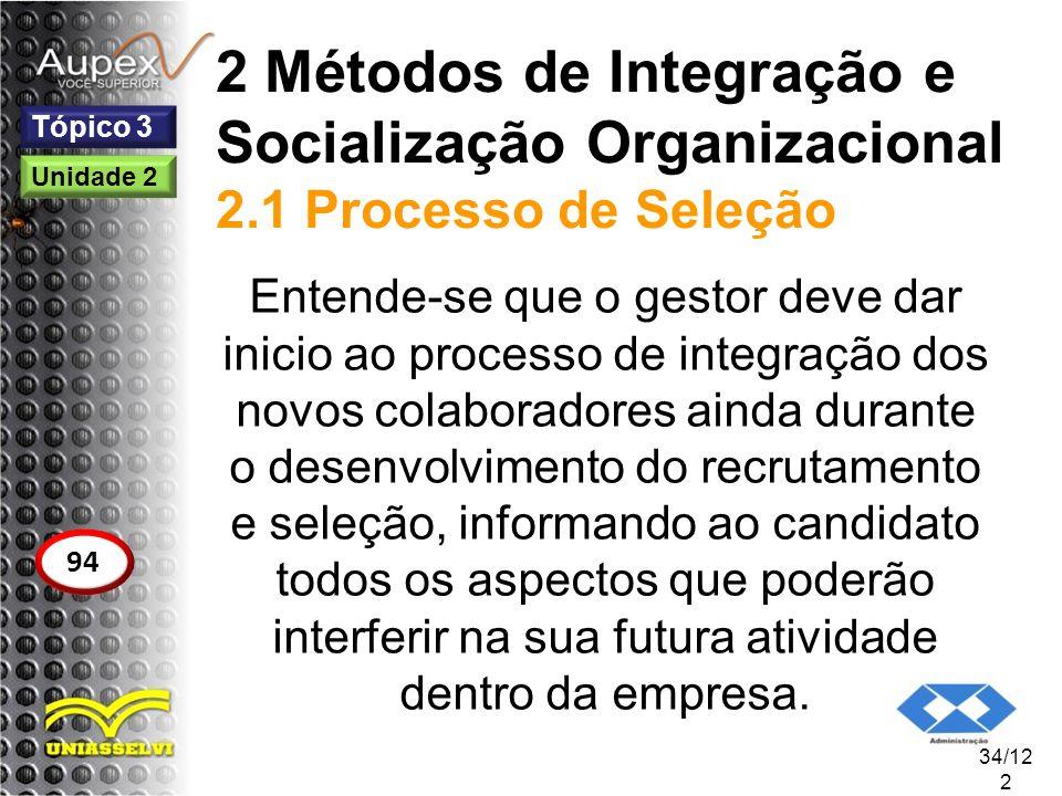 2 Métodos de Integração e Socialização Organizacional 2.1 Processo de Seleção Entende-se que o gestor deve dar inicio ao processo de integração dos no