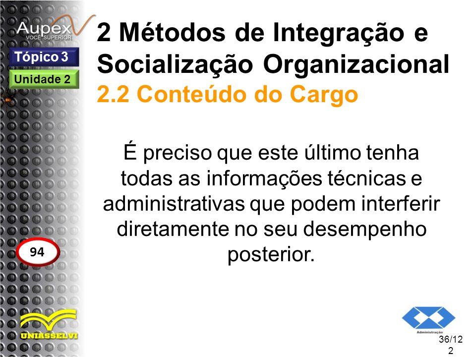 2 Métodos de Integração e Socialização Organizacional 2.2 Conteúdo do Cargo É preciso que este último tenha todas as informações técnicas e administra