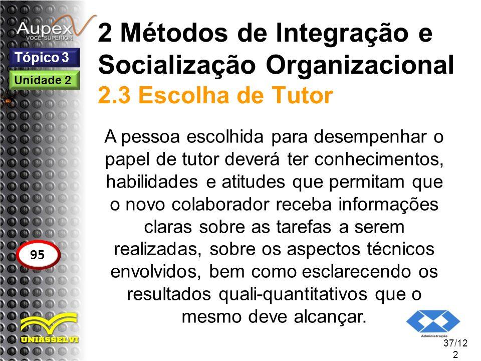 2 Métodos de Integração e Socialização Organizacional 2.3 Escolha de Tutor A pessoa escolhida para desempenhar o papel de tutor deverá ter conheciment