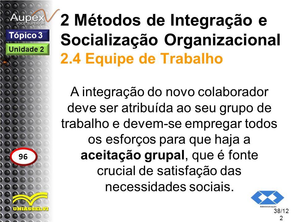 2 Métodos de Integração e Socialização Organizacional 2.4 Equipe de Trabalho A integração do novo colaborador deve ser atribuída ao seu grupo de traba