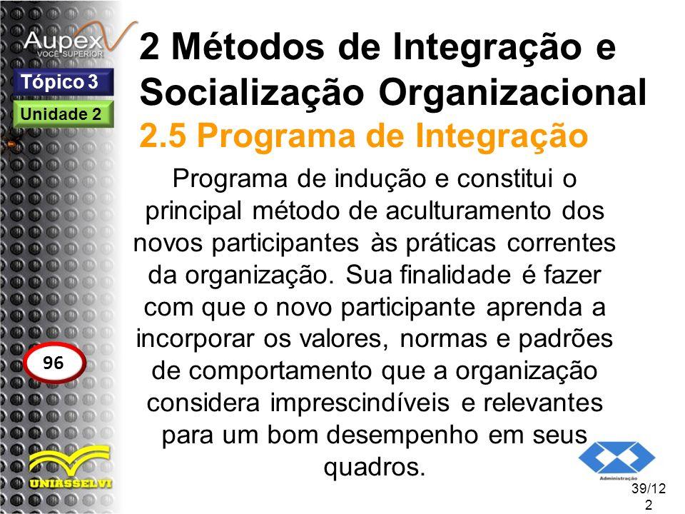 2 Métodos de Integração e Socialização Organizacional 2.5 Programa de Integração Programa de indução e constitui o principal método de aculturamento d