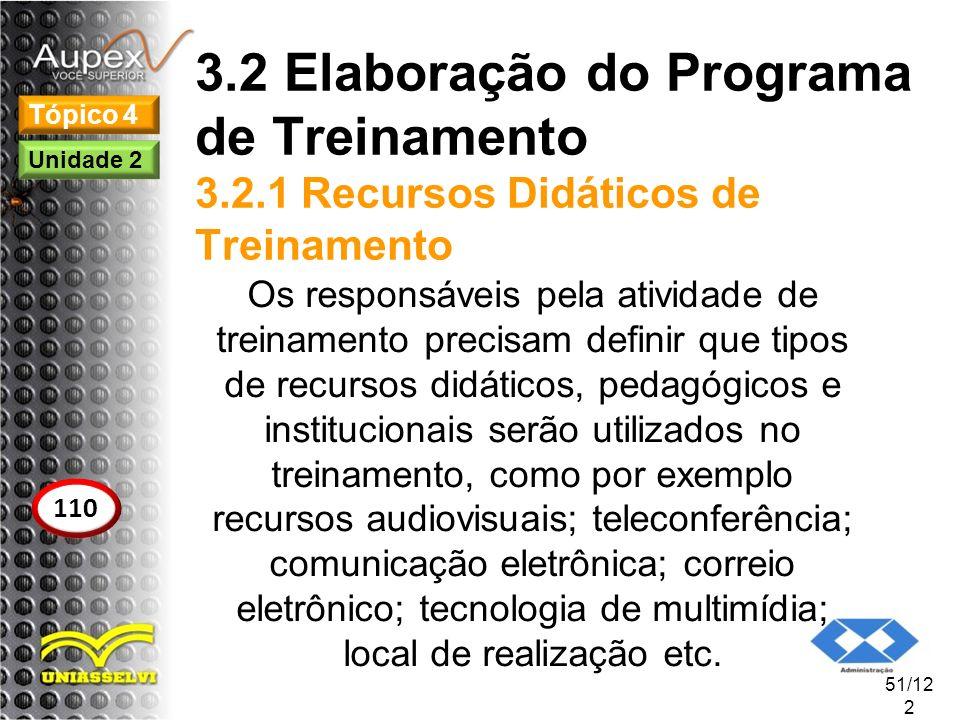 3.2 Elaboração do Programa de Treinamento 3.2.1 Recursos Didáticos de Treinamento Os responsáveis pela atividade de treinamento precisam definir que t