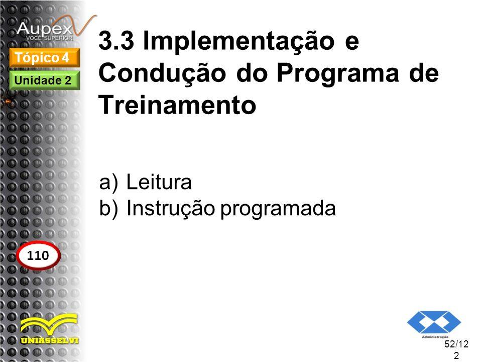 3.3 Implementação e Condução do Programa de Treinamento a)Leitura b)Instrução programada 52/12 2 Tópico 4 110 Unidade 2
