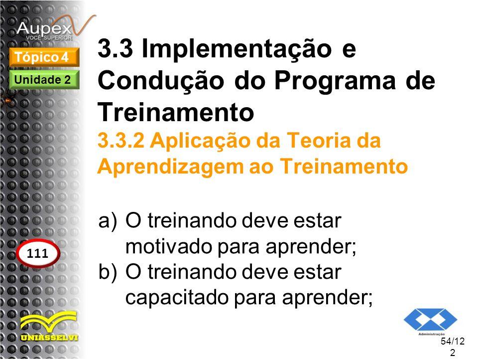 3.3 Implementação e Condução do Programa de Treinamento 3.3.2 Aplicação da Teoria da Aprendizagem ao Treinamento a)O treinando deve estar motivado par