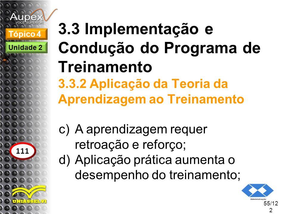 3.3 Implementação e Condução do Programa de Treinamento 3.3.2 Aplicação da Teoria da Aprendizagem ao Treinamento c)A aprendizagem requer retroação e r