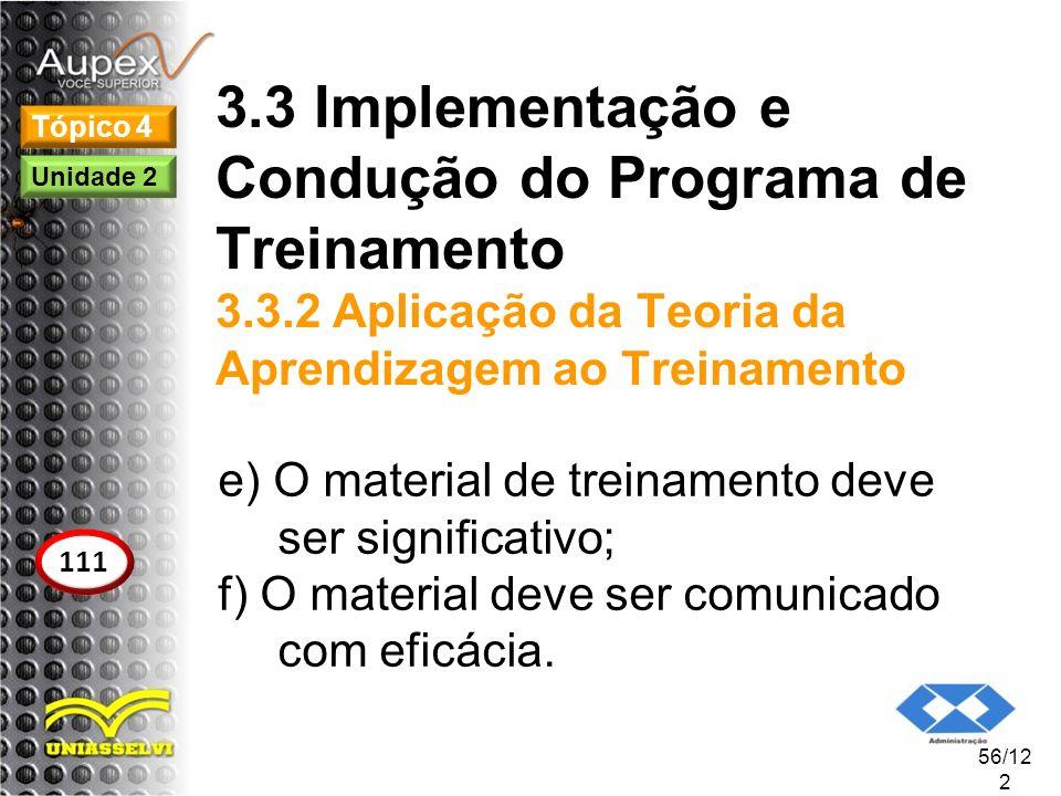 3.3 Implementação e Condução do Programa de Treinamento 3.3.2 Aplicação da Teoria da Aprendizagem ao Treinamento e) O material de treinamento deve ser