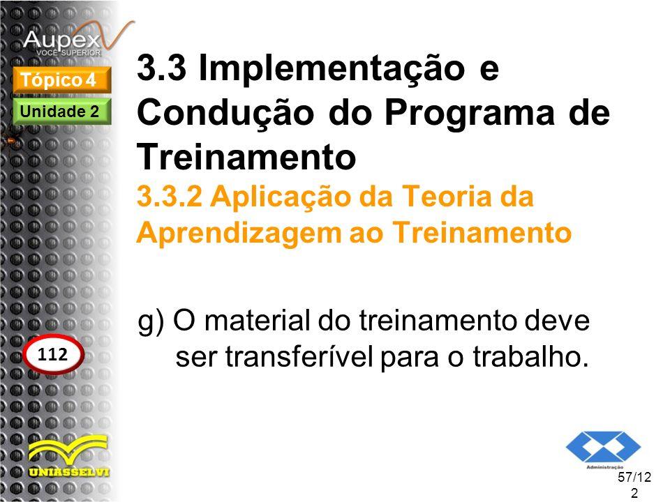 3.3 Implementação e Condução do Programa de Treinamento 3.3.2 Aplicação da Teoria da Aprendizagem ao Treinamento g) O material do treinamento deve ser