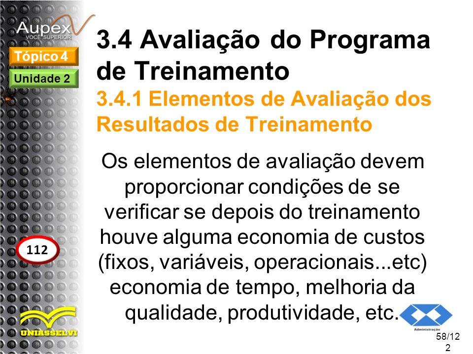 3.4 Avaliação do Programa de Treinamento 3.4.1 Elementos de Avaliação dos Resultados de Treinamento Os elementos de avaliação devem proporcionar condi