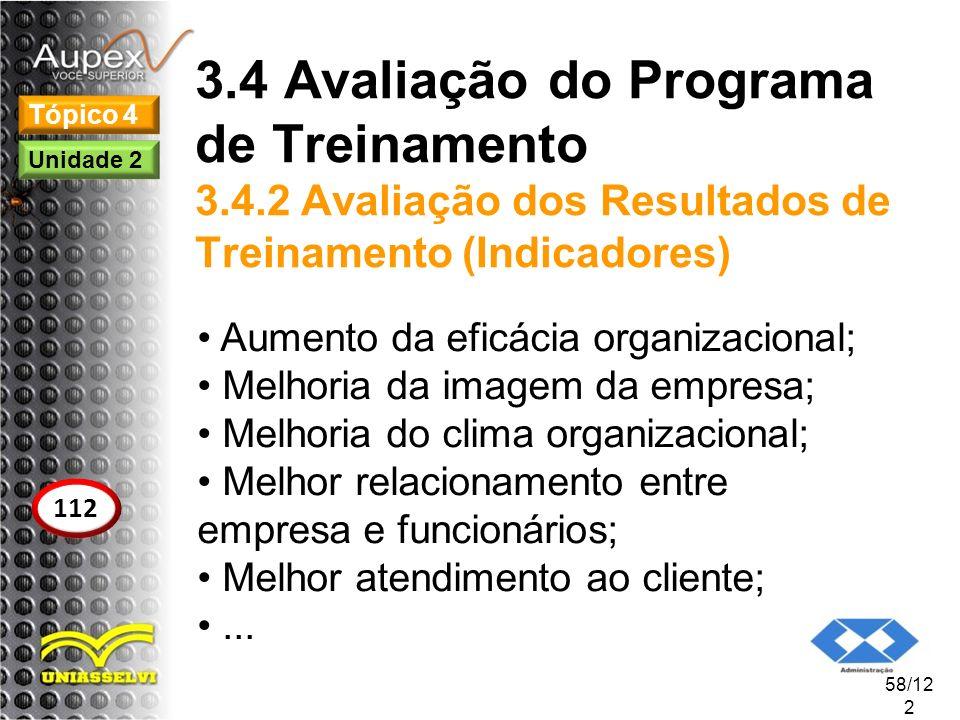 3.4 Avaliação do Programa de Treinamento 3.4.2 Avaliação dos Resultados de Treinamento (Indicadores) Aumento da eficácia organizacional; Melhoria da i