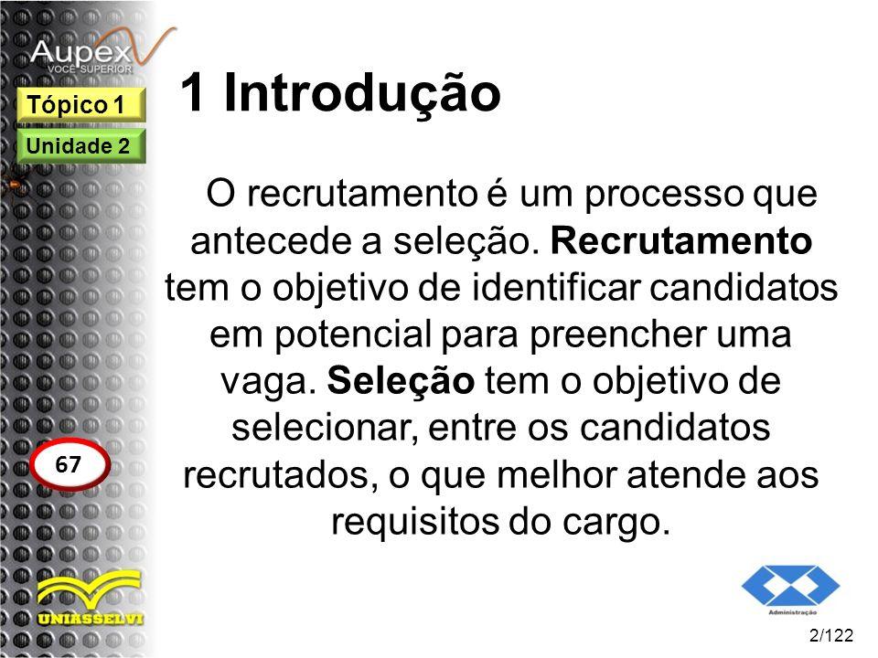 1 Introdução O recrutamento é um processo que antecede a seleção. Recrutamento tem o objetivo de identificar candidatos em potencial para preencher um