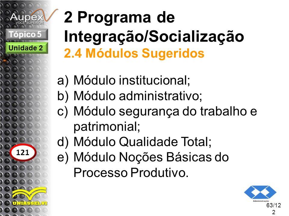 2 Programa de Integração/Socialização 2.4 Módulos Sugeridos a)Módulo institucional; b)Módulo administrativo; c)Módulo segurança do trabalho e patrimon