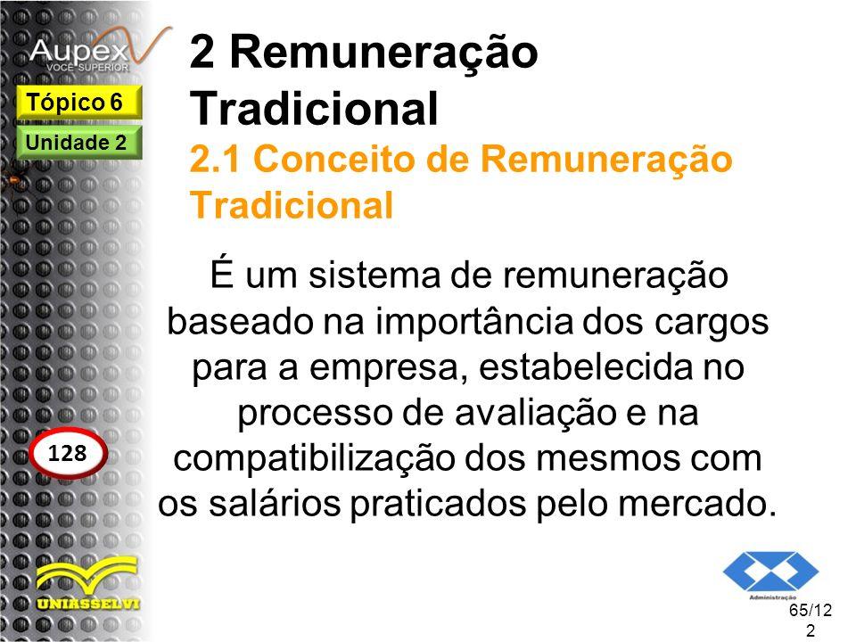 2 Remuneração Tradicional 2.1 Conceito de Remuneração Tradicional É um sistema de remuneração baseado na importância dos cargos para a empresa, estabe