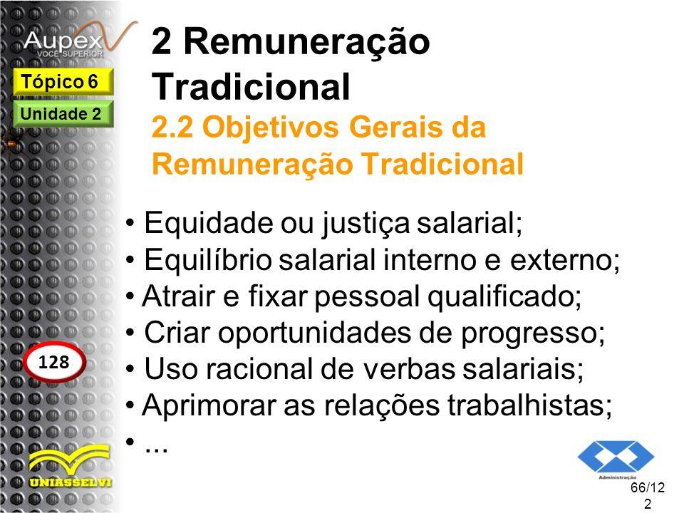 2 Remuneração Tradicional 2.2 Objetivos Gerais da Remuneração Tradicional Equidade ou justiça salarial; Equilíbrio salarial interno e externo; Atrair