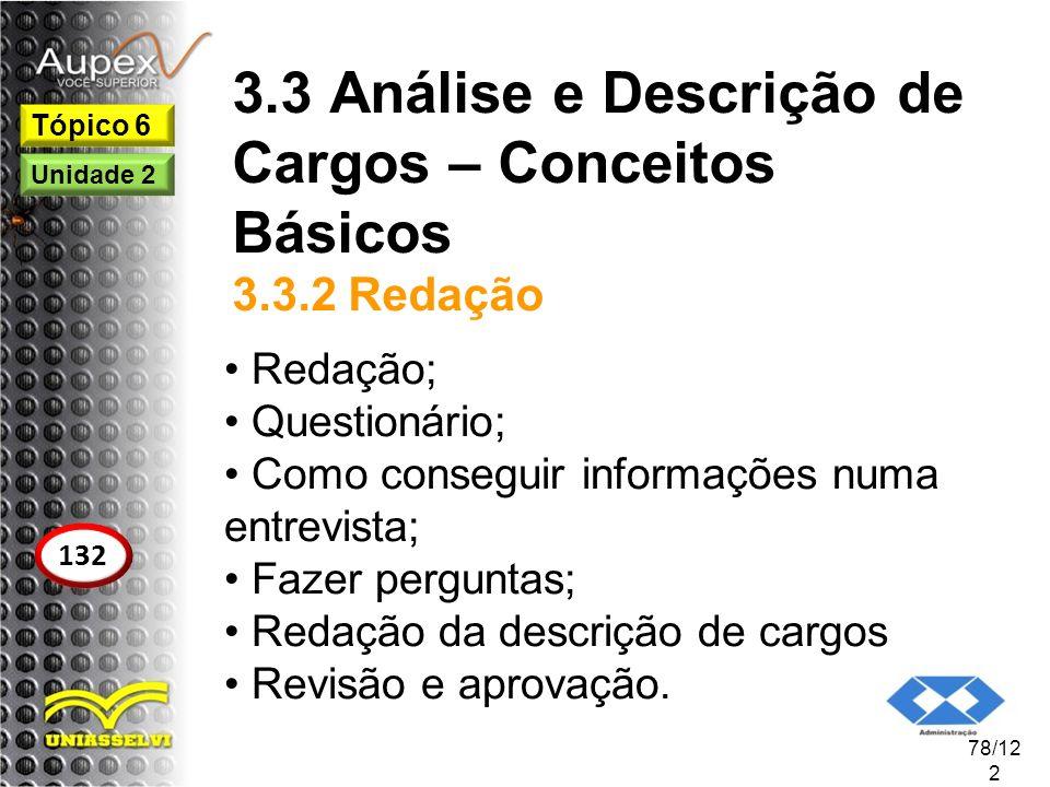 3.3 Análise e Descrição de Cargos – Conceitos Básicos 3.3.2 Redação Redação; Questionário; Como conseguir informações numa entrevista; Fazer perguntas