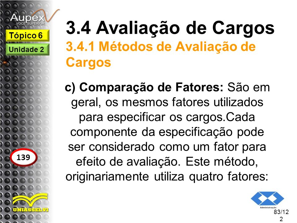 3.4 Avaliação de Cargos 3.4.1 Métodos de Avaliação de Cargos c) Comparação de Fatores: São em geral, os mesmos fatores utilizados para especificar os