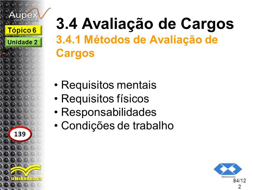 3.4 Avaliação de Cargos 3.4.1 Métodos de Avaliação de Cargos Requisitos mentais Requisitos físicos Responsabilidades Condições de trabalho 84/12 2 Tóp