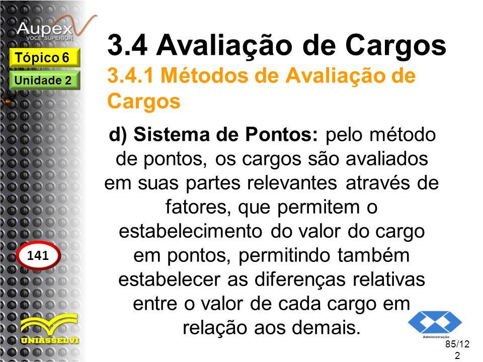 3.4 Avaliação de Cargos 3.4.1 Métodos de Avaliação de Cargos d) Sistema de Pontos: pelo método de pontos, os cargos são avaliados em suas partes relev