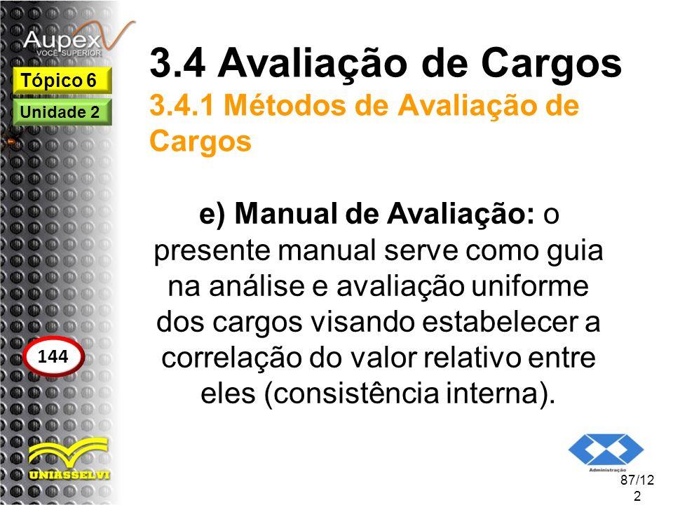 3.4 Avaliação de Cargos 3.4.1 Métodos de Avaliação de Cargos e) Manual de Avaliação: o presente manual serve como guia na análise e avaliação uniforme