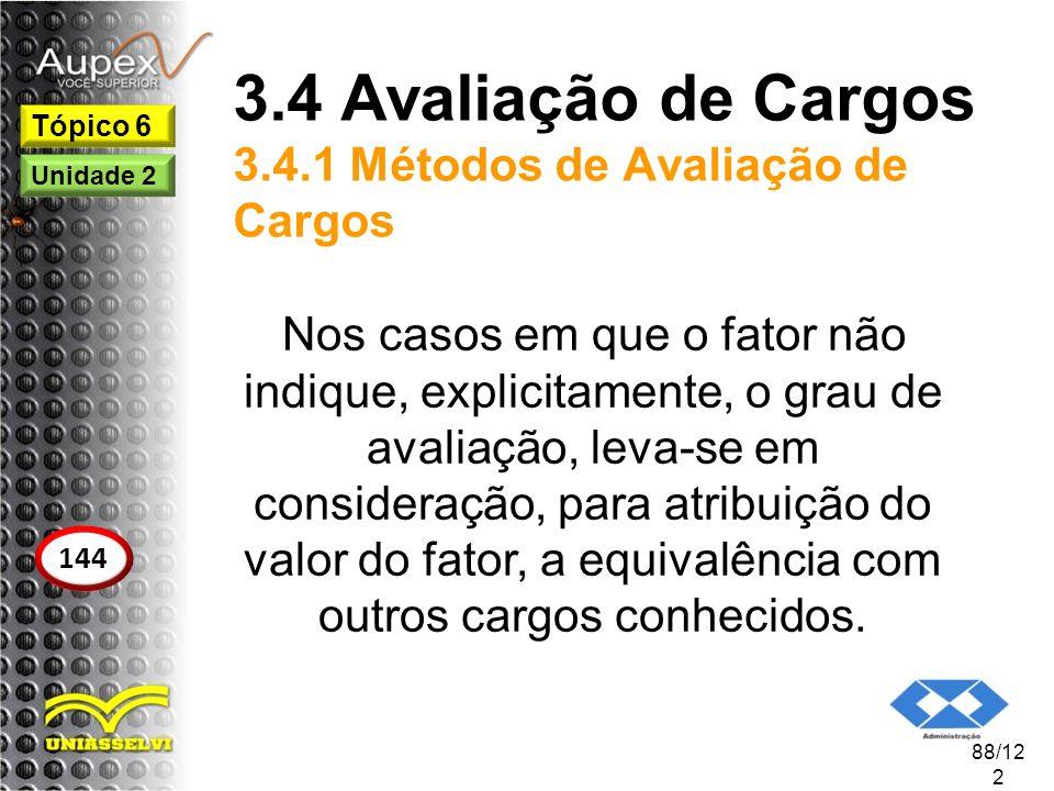 3.4 Avaliação de Cargos 3.4.1 Métodos de Avaliação de Cargos Nos casos em que o fator não indique, explicitamente, o grau de avaliação, leva-se em con