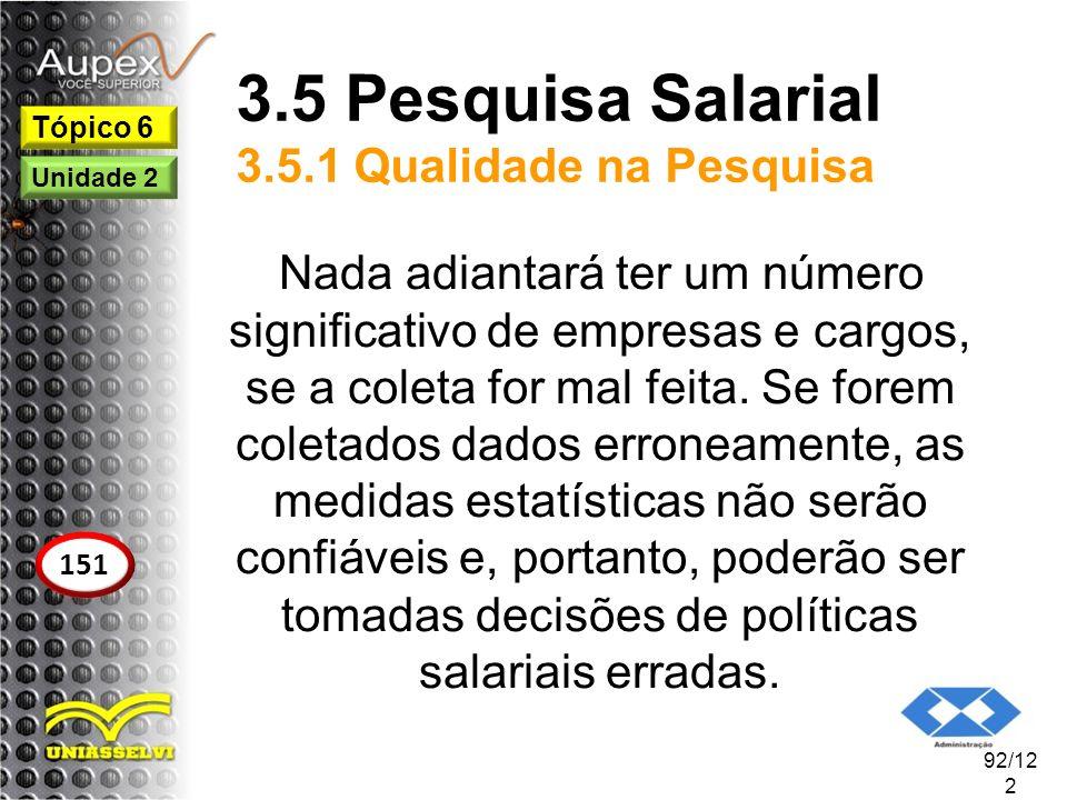 3.5 Pesquisa Salarial 3.5.1 Qualidade na Pesquisa Nada adiantará ter um número significativo de empresas e cargos, se a coleta for mal feita. Se forem