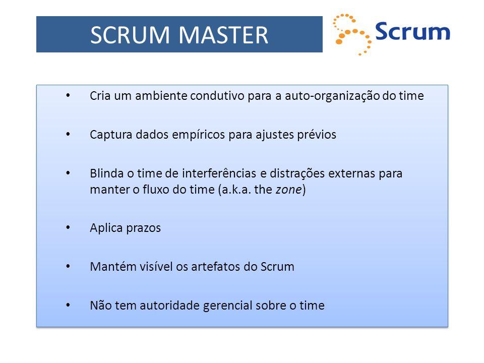 SCRUM MASTER Cria um ambiente condutivo para a auto-organização do time Captura dados empíricos para ajustes prévios Blinda o time de interferências e
