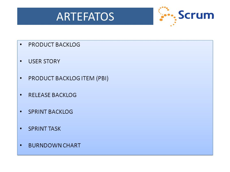 ARTEFATOS PRODUCT BACKLOG USER STORY PRODUCT BACKLOG ITEM (PBI) RELEASE BACKLOG SPRINT BACKLOG SPRINT TASK BURNDOWN CHART PRODUCT BACKLOG USER STORY P