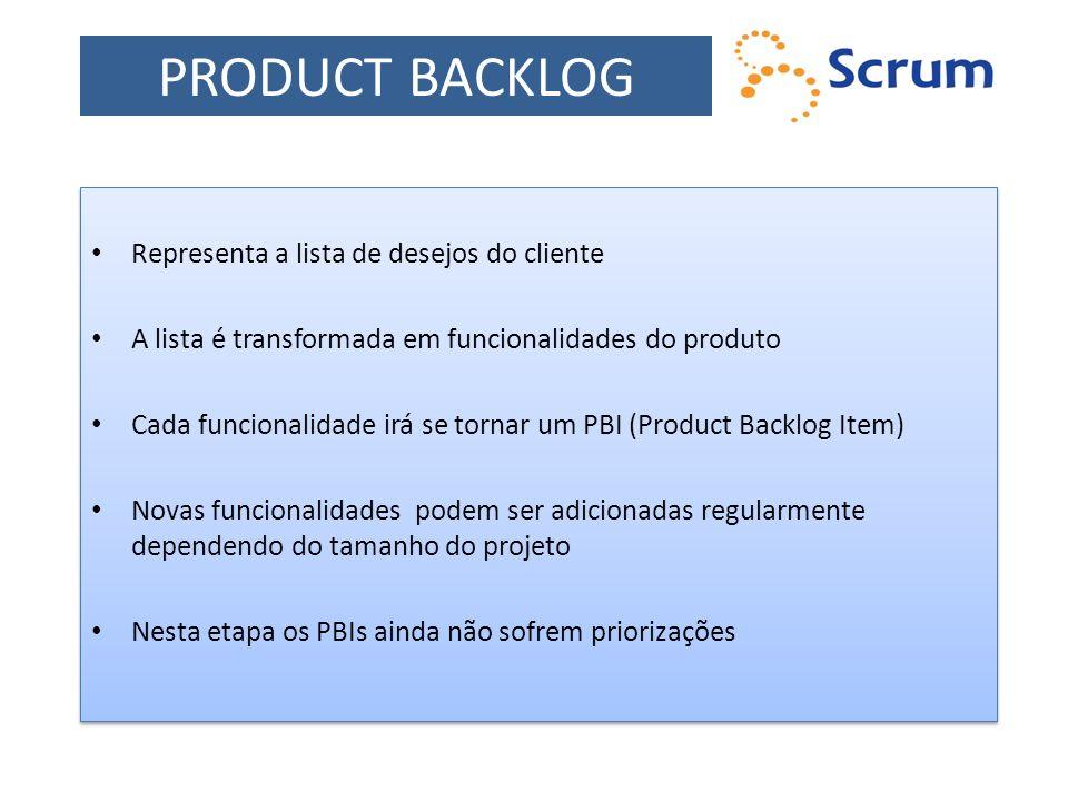 Representa a lista de desejos do cliente A lista é transformada em funcionalidades do produto Cada funcionalidade irá se tornar um PBI (Product Backlo