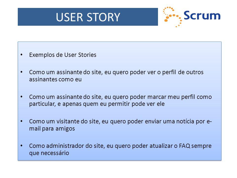 USER STORY Exemplos de User Stories Como um assinante do site, eu quero poder ver o perfil de outros assinantes como eu Como um assinante do site, eu