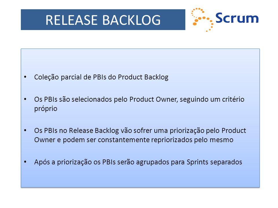 Coleção parcial de PBIs do Product Backlog Os PBIs são selecionados pelo Product Owner, seguindo um critério próprio Os PBIs no Release Backlog vão so
