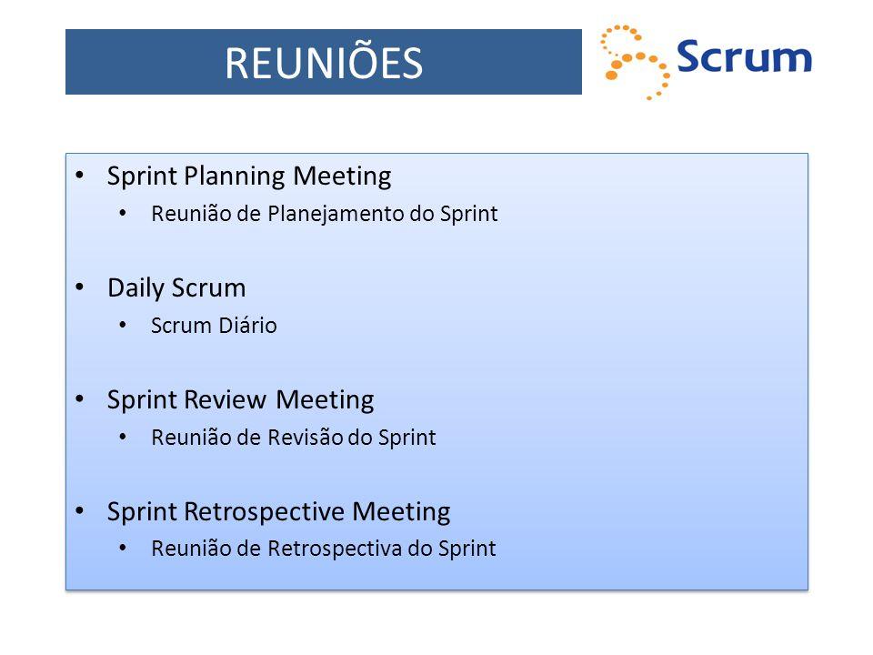 REUNIÕES Sprint Planning Meeting Reunião de Planejamento do Sprint Daily Scrum Scrum Diário Sprint Review Meeting Reunião de Revisão do Sprint Sprint