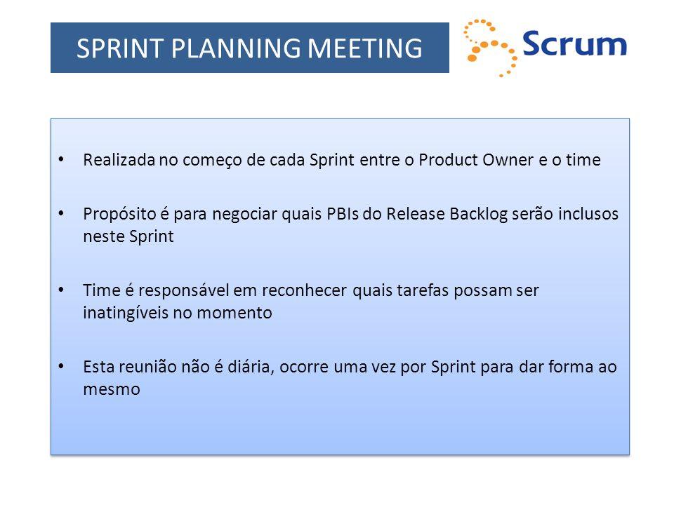SPRINT PLANNING MEETING Realizada no começo de cada Sprint entre o Product Owner e o time Propósito é para negociar quais PBIs do Release Backlog serã