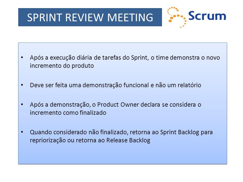 SPRINT REVIEW MEETING Após a execução diária de tarefas do Sprint, o time demonstra o novo incremento do produto Deve ser feita uma demonstração funci