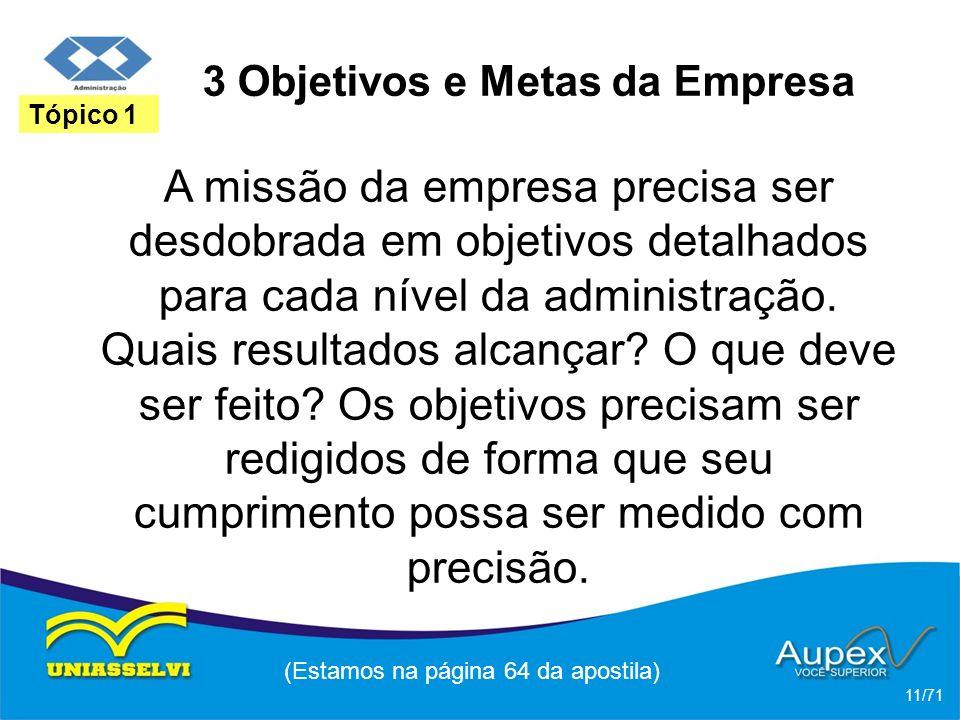 3 Objetivos e Metas da Empresa A missão da empresa precisa ser desdobrada em objetivos detalhados para cada nível da administração. Quais resultados a
