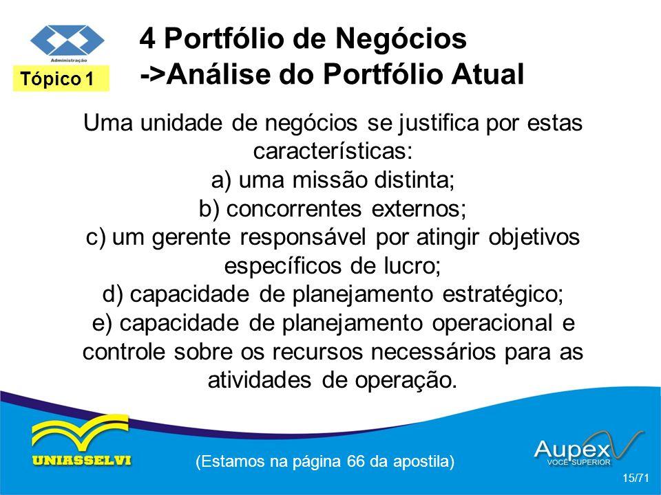 4 Portfólio de Negócios ->Análise do Portfólio Atual Uma unidade de negócios se justifica por estas características: a) uma missão distinta; b) concor