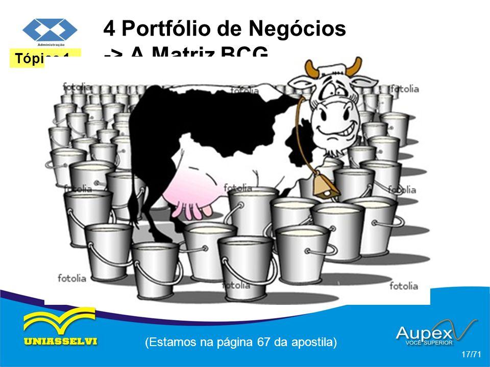 4 Portfólio de Negócios -> A Matriz BCG * Vacas Leiteiras: uma vaca leiteira gera muito caixa. A empresa não tem que financiar expansões da capacidade